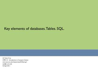 Key elements of databases. Tables. SQL.