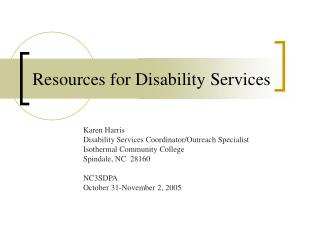 Resources for Disability Services