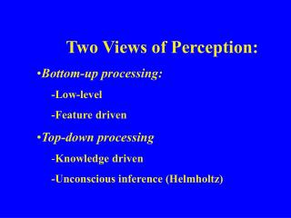 Two Views of Perception: Bottom-up processing: -Low-level -Feature driven Top-down processing