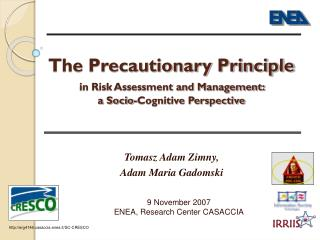 The Precautionary Principle in Risk Assessment and Management:  a Socio-Cognitive Perspective