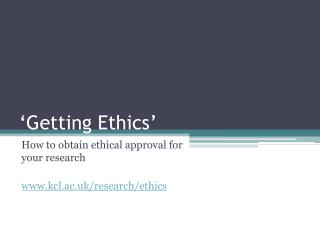 �Getting Ethics�