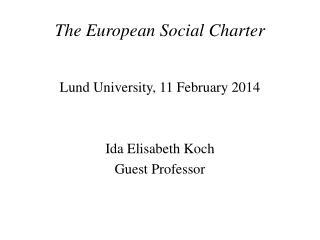 The European Social Charter