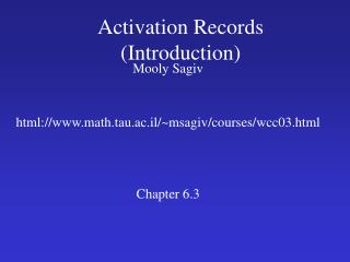 Activation Records (Introduction)