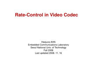 Rate-Control in Video Codec