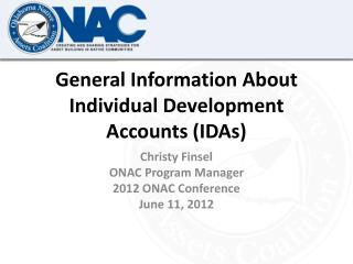 General Information About Individual Development Accounts (IDAs)