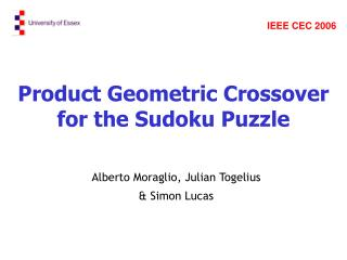 Product Geometric Crossover for the Sudoku Puzzle