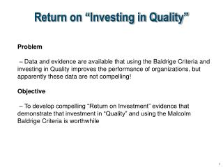 "Return on ""Investing in Quality"""