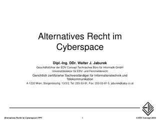 Alternatives Recht im Cyberspace