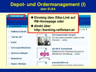 Depot- und Ordermanagement (I) �ber ELBA
