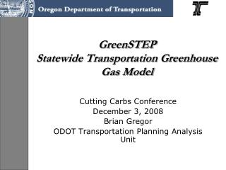 GreenSTEP  Statewide Transportation Greenhouse Gas Model