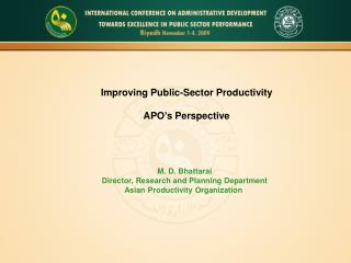 Improving Public-Sector Productivity APO's Perspective