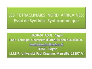 LES  TETRACLINAIES  NORD  AFRICAINES: Essai de Synthèse  Syntaxonomique