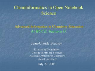 Cheminformatics in Open Notebook Science