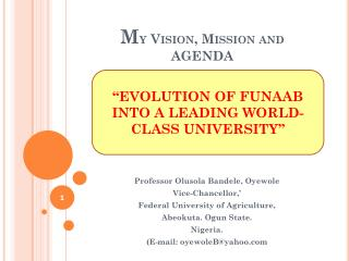 M y Vision, Mission and AGENDA