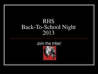 RHS  Back-To-School Night 2013