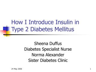 How I Introduce Insulin in Type 2 Diabetes Mellitus