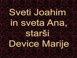 Sveti Joahim  in sveta Ana, starši  Device Marije