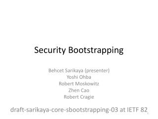 Security Bootstrapping