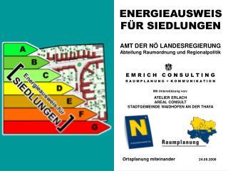 ENERGIEAUSWEIS F�R SIEDLUNGEN