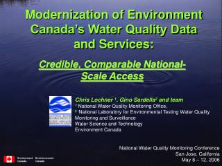 Modernization of Environment Canada's Water Quality Data and Services: