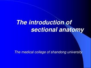 The  introduction of                  sectional anatomy