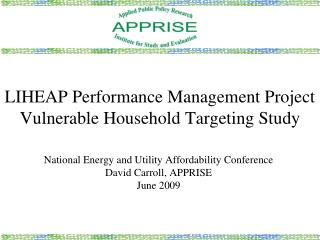 LIHEAP Performance Management Project Vulnerable Household Targeting Study