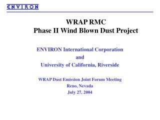 WRAP RMC  Phase II Wind Blown Dust Project
