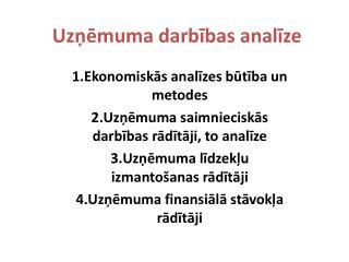 Uzņēmuma darbības analīze