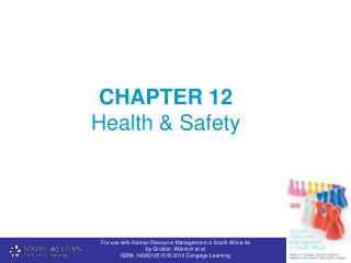 CHAPTER 12  Health & Safety