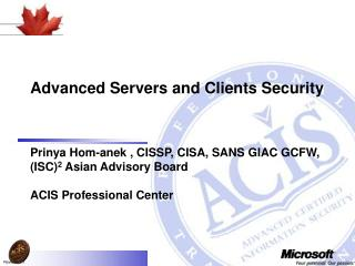 Advanced Servers and Clients Security