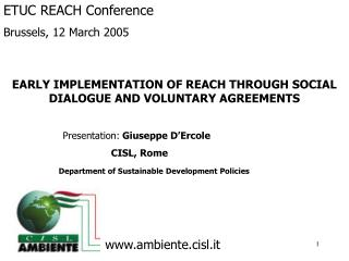 EARLY IMPLEMENTATION OF REACH THROUGH SOCIAL DIALOGUE AND VOLUNTARY AGREEMENTS
