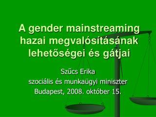 A gender mainstreaming hazai megvalósításának lehetőségei és gátjai