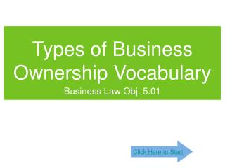 Types of Business Ownership Vocabulary
