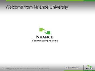 Welcome from Nuance University