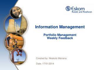 Information Management Portfolio Management Weekly Feedback