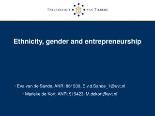 Ethnicity, gender and entrepreneurship