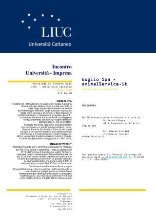 Incontro  Università - Impresa Mercoledì 22 Ottobre 2014 LIUC – Università Cattaneo Aula C109