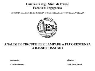 Universit� degli Studi di Trieste Facolt� di Ingegneria