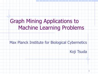 Graph Mining Applications to Machine Learning Problems