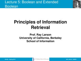 Lecture 5: Boolean and Extended Boolean