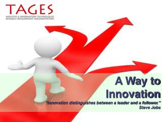 "A Way to  Innovation "" Innovation distinguishes between a leader and a follower .""  Steve Jobs"