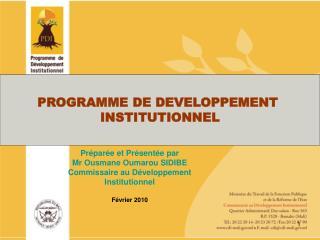 PROGRAMME DE DEVELOPPEMENT  INSTITUTIONNEL