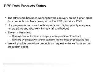 RPS Data Products Status