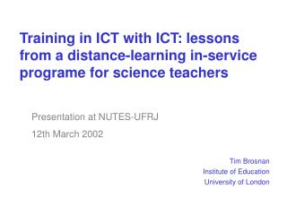 Tim Brosnan Institute of Education University of London