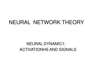 NEURAL  NETWORK THEORY