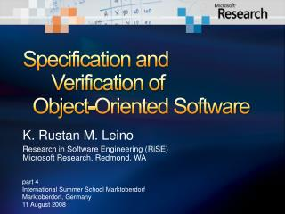 Specification and 	Verification of   Object-Oriented Software