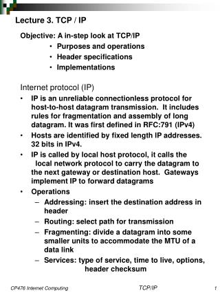 Lecture 3. TCP / IP