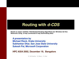 Routing with  d-CDS