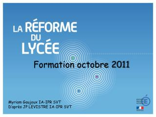 Formation octobre 2011