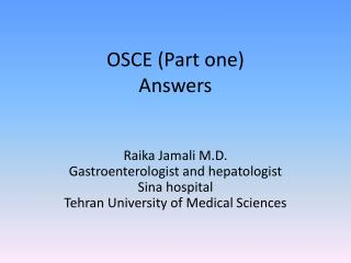 OSCE (Part one) Answers